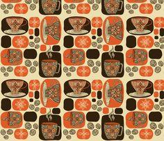 Retro Coffee fabric by valentinaharper on Spoonflower - custom fabric