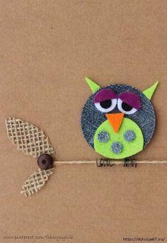 Appliqué that can be put on cushions Owl Crafts, Diy And Crafts, Crafts For Kids, Arts And Crafts, Paper Crafts, Artisanats Denim, Denim Art, Fabric Cards, Denim Crafts