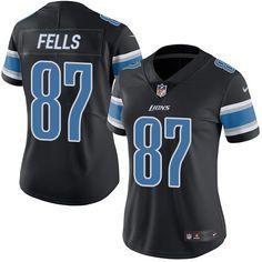 Women's Nike Detroit Lions #87 Darren Fells Limited Black Rush NFL Jersey