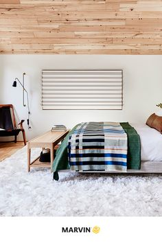 Our fall mantra: Let the light in and watch the views of the crisp air from the comfort of your own bed. Design: Emily Henderson, 📷: Sara Tramp for EHD. Blackout Shades, Vintage Nightstand, Green Quilt, Wood Ceilings, Window Frames, Common Area, White Oak, Beautiful Space, Glass Design