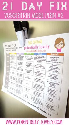 21 Day Fix Vegetarian Sample Weekly Meal Plan #2