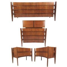 View this item and discover similar for sale at - This four-piece Mid-Century bedroom set by William Hinn features an iconic concave sculpted design in a stunning vintage walnut finish. Unique two-piece Mcm Furniture, Modern Bedroom Furniture, Mid Century Modern Bedroom, Mid Century Modern Furniture, Bedroom Sets For Sale, Contemporary Bedroom Sets, Low Dresser, Mid Century Design, Mid-century Modern