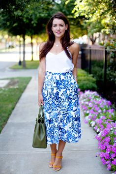 asos top //milly 'katie' print flare midi skirt//fendi tote//gucci shoes //cartier watch | Dallas Wardrobe | Fashion Blog