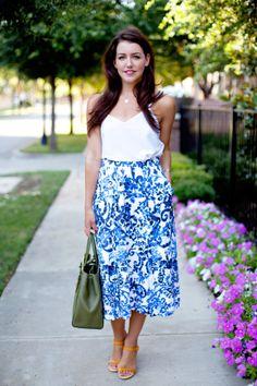 asos top //milly 'katie' print flare midi skirt//fendi tote//gucci shoes //cartier watch   Dallas Wardrobe   Fashion Blog