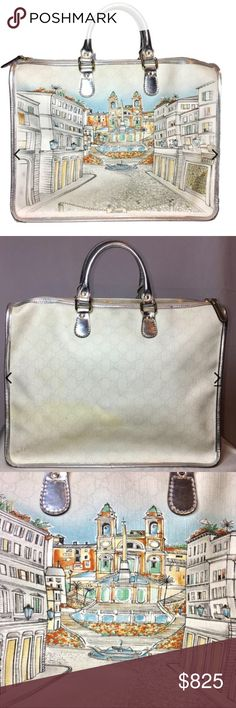 "Gucci LTD ED Roma Design Large Bag.  Pure Class! This spectacular Italian bag in white/silver is an exclusive bag, limited Roma Edition, from Gucci.  It is a breathtaking Tote with a hand painted Italian scene on the front of Rome.  The Guccisima Gucci monogram pattern of the bag along with the Italy painted scenery makes this piece truly a Work of Art. Perfect to carry everyday. White leather, light GG print, Metallic Silver Trim around edges and handle. Measures: L 14.5"", H 13"", W 6""…"