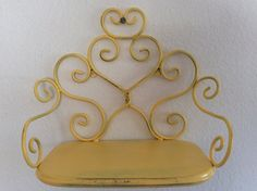 Wall Shelf  Yellow Metal  Shabby Cottage Chic  by mushroommary