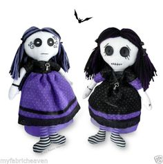 These strange little Goth-girls might look a bit spooky but lets just say ….. creepy but cute! Vesper & Venus are Gothic style rag dolls made in the traditional way from white muslin, cotton, organ...