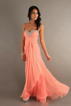 2013 Chiffon Beaded Criss Cross Coral Prom Dress