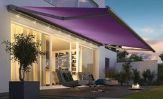 Valbonne Awning Purple - Elegantly tapered, the Valbonne/LED extra-slim, smooth looking design makes an attractive addition to any modern home. Its dimensions also make it ideal for most patio sizes.
