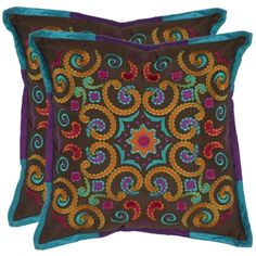 @Overstock - Enhance an old couch or drab-colored arm chair with this set of two 18-inch-square decorative pillows. Featuring a multicolored abstract print, this pillow will add pizzazz to any room. For easy cleaning, simply unzip the removable cover.http://www.overstock.com/Home-Garden/Kaleidoscope-18-inch-Brown-Decorative-Pillows-Set-of-2/6641147/product.html?CID=214117 $56.99
