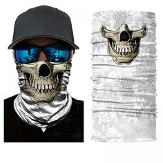 Protect yourself from the elements with a White Camo Smiling Skull Face Shield from Bushpro Outdoors. White Camo, Skull Face, Unique Fashion, Blond, Bandana, Hunting, Outdoors, Free Shipping, Bandanas