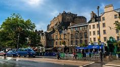 Edinburgh. A view of the castle with the grassmarket pubs/restaurants in front.