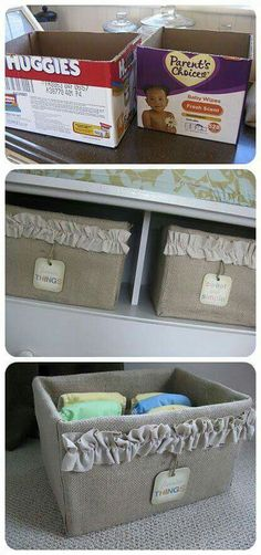 Pamper boxes into storage boxes