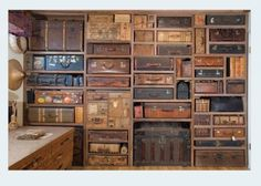 Wall of vintage suitcases - bedroom sound barrier? LOL!!!