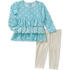 Healthtex Newborn Baby Girls' Knit Tunic and Leggings Outfit Set, Newborn Girl's, Size: 18 Months, Beige