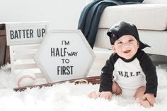 6 Month Baby Picture Ideas Discover Custom Baseball Raglan Half Birthday Bodysuit With Number And Last Name 6 Month Baby Picture Ideas Boy, Baby Boy Pictures, Monthly Baby Photos, Monthly Pictures, 6 Month Pictures, Half Birthday Baby, Birthday Ideas, Birthday Month, Baby Monat Für Monat
