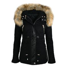 Women's Stylish Faux Fur Hooded Long Sleeve PU Splicing Thick Coat ($37) ❤ liked on Polyvore featuring outerwear, coats, long sleeve coat e faux fur hood coat