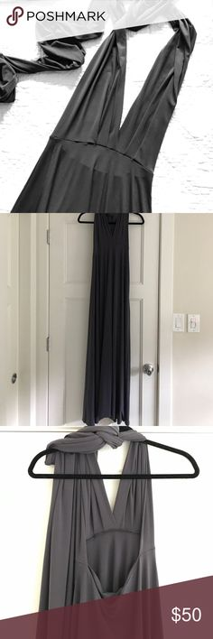 Infinity convertible bridesmaid maxi dress Gunmetal grey maxi halter wrap dress, can be worn so many ways with long ties that can wrap to make sleeves, strapless, halter, etc. one size. Lulu's Dresses Maxi