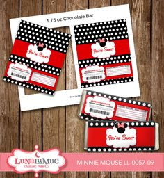 Minnie Mouse Chocolate or Candy Wrappers Minnie Mouse Birthday Party Printables LL-0057-09