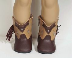 2-Tone BLACK BROWN Faux Suede Cowboy Boots Doll Shoes For 18 American Girl Debs