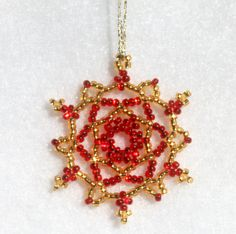 #Snowflake Holiday Ornament in Red & Gold by TheCrystalSnowflake on Etsy, $12.00