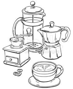 Coffee equipment in black and white royalty-free stock vector art