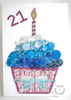 Cupcake bouton Art Original cristaux de par WardsButtonsBeyond