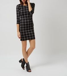 Black 3/4 Sleeve Grid Print Bodycon Dress