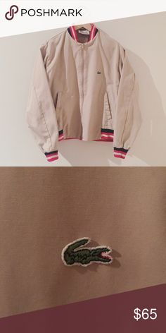 """Vintage Lacoste Zip Up Jacket Rad zip up style windbreaker jacket by Lacoste back when all Lacoste lines were sewn by Izod. This is vintage but is in great condition, looks new. This is a men's size Large but could be unisex if desired. Color is like a khaki or putty. Inside tag has the name """"Lyons"""" on it. Lacoste Jackets & Coats"""