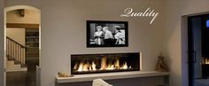 Linear Gas Fireplace with TV above and shelf below. Add a stone feature!!