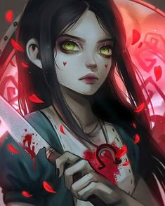 Alice from Alice: Madness Returns -- I put a border in so the whole image could be shown Alice Liddell, Alice Madness Returns, Dark Alice In Wonderland, Chibi, Whole Image, Fanart, Dark Fantasy Art, Horror Art, Funny Art