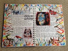 Dave White artist research page GCSE ART artist research page Art Pages, Art Journal Pages, Art Journals, Journal Ideas, Artist Research Page, Kunst Portfolio, Portfolio Layout, Dave White, Gcse Art Sketchbook