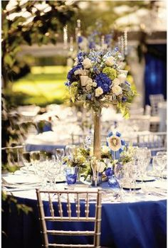 Blue & White Flowers Candelabra Centerpiece