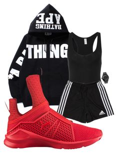 """R u n"" by s-dstyle ❤ liked on Polyvore featuring A BATHING APE, Nixon, American Apparel, adidas and Puma"