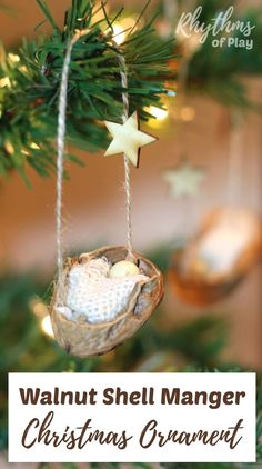 This DIY rustic homemade walnut shell manger Christmas ornament can be made by both kids and adults. Handmade ornaments like this kid-made baby Jesus in the manger are perfect for the Christmas tree. You can also use this craft as a part of a nativity sce Christmas Jesus, Christmas Crafts For Kids, Christmas Countdown, Christmas Tree Ornaments, Christmas Fun, Holiday Crafts, Christmas Decorations, Holiday Decor, Homemade Christmas