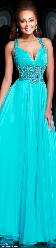 Aqua gown by Sherri Hill Spring 2014