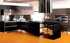 Modern Kitchen Color Combinations - It is true that color influences our dispositions. That's the reason why it's very impor Modern Kitchen Interiors, Modern Kitchen Design, Home Decor Kitchen, Interior Design Kitchen, Interior Paint, Modern Interior, Modern Kitchens, Kitchen Ideas, Small Kitchen Cabinets