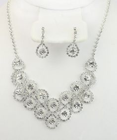 Silver & Gem Circle Necklace & Earrings Set