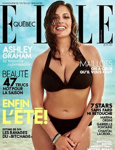 In a time where photoshopped images on the covers of glossy fashion magazines are so commonplace that it has begun to seem normal to us, it is refreshing to finally see someone going against the status quo. Elle Quebec's july 2014 cover is graced not only by a plus size model, but by plus size model Ashley Graham in a bikini.