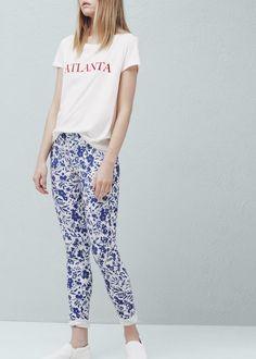 Leggings algodón estampados - Pantalones de Mujer | MANGO España