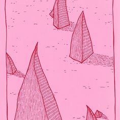 Pink Landscape 2 Pink Landscape 1 #landscape #pop #popart #popsurrealism #lowbrow #naive, #simple #illustration #pink #magenta #lineart www.uncouthkat.com