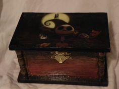 Nightmare Before Christmas Medium Wooden Box, Handpainted, Decoupage