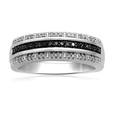 Jewelili Sterling Silver 1/6ct Black and White Diamond Stackable Band Ring, Size 7 *** For more information, visit