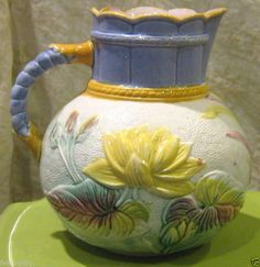 c1886 LILAC Samuel Lear Hanley English Majolica Pond Lily & Rope Pitcher 8""