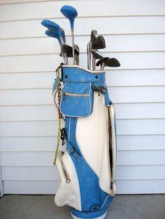 Vintage 1960s ladies golf bag  with full set of clubs by vivaropa, $178.00