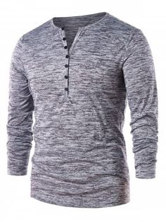 Long Sleeve Half Button Henley T-Shirt - Gray - - Men's Clothing, Men's Tops & T-Shirts, Men's T-Shirts # # Casual T Shirts, Cool Shirts, Long Sleeve Henley, Long Sleeve Shirts, Sweat Shirt, Men Shirt, Legging Court, Chemise Fashion, Robes Vintage