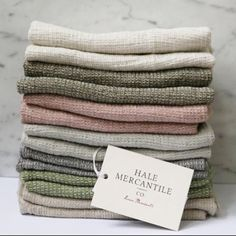 Our fabulous HMCo Tutto towels. Super soft and highly absorbent pure linen waffle. Perfect for the kitchen or bathroom.