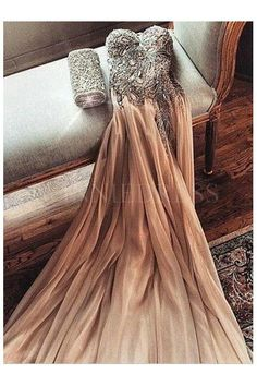 #Champagne Sweetheart #Beaded Bodice Chiffon Floor Length #Prom Dress #winniedress