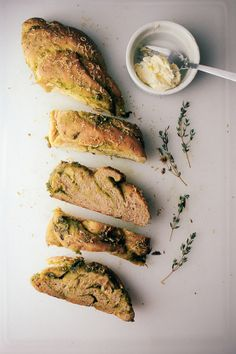 CHIMICHURRI RAMPS BREAD WITH LEMON THYME BUTTER