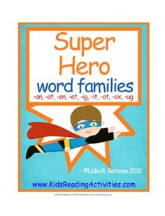 This Super Hero Word Families book goes along with my Super Hero Alphabet. This Super Hero Alphabet has a personalized alphabet chart and cards cre...